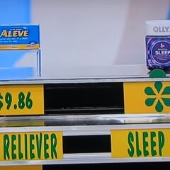 He says the sleep aid is more expensive than the pain reliever.