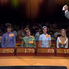 The original Contestant's Row podiums from 1972: Note the Goodson-Todman asterisk that indicates the winning bid. The covers for the chairs read the show's name at the time, which was