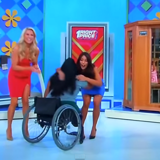 Here is proof that a contestant in a wheelchair had won a treadmill.