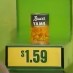 Next, she picks the can of Bruce's Yams.