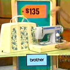 First prize is a $135 sewing machine. So a 1, 3, or a 5 is the first digit.