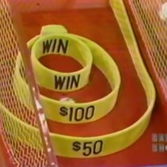 The super ball went into the $100 circle.