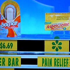 He says the Aspercreme pain relief is less expensive than the Bounce dryer bar.