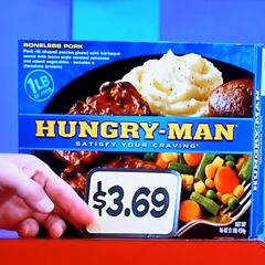 First, she picks 5 Hungry-Man frozen dinners which come to...