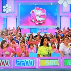 The pink contestant's row podiums from the 2016 Breast Cancer Awareness episode