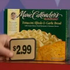 First, she picks 3 Marie Callender's fettuccini alfredo which come to...