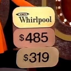 Is the price of the Whirlpool $485 or $319? (Note the brown colored prop with only two shelves that show the ARP behind a flap bearing the brand of the prize and one of two possible prices and a magnetic cling to hang the price tag underneath the one above it)