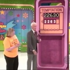 As is this contestant from Bob's final year; again, this contestant is one digit away from winning everything. By that time the board changed colors and added a fifth digit.