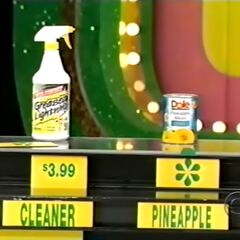 She says the Dole pineapple slices are less expensive than the Greased Lightning cleaner.