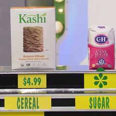 She says the C&H cane sugar is less expensive than the Kashi wheat biscuit cereal.