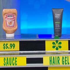 He says the Dove Men+Care hair gel is more expensive than the Heinz Mayochup sauce.