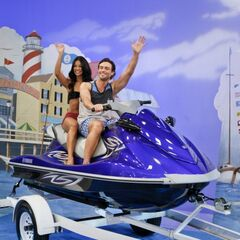 Daniel & Manuela wave to the crowd while modeling the Jet Ski. Better hope Lily (Christel Khalil) isn't watching...