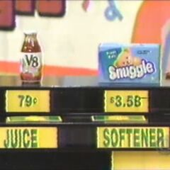 He says the softener is higher than the juice. He is obviously right.