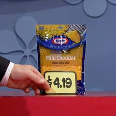 Second, he picks 5 Kraft mild cheddar shredded cheeses which come to...