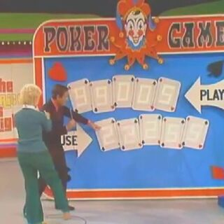 Here's a very early look at Poker Game; this is from before The Price is Right became a permenant hour long show. You'll notice that the displays are white, not black: making it hard to see the numbers. But if you look real closely, you'll see that the house won with a Full House, beating the contestant's 2-pair hand.