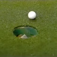 And unfortunately, the contestant has also missed her putt.