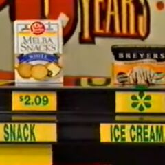 Brandon says the Breyer's peanut butter & fudge ice cream is more expensive than the Old London Melba Snacks.