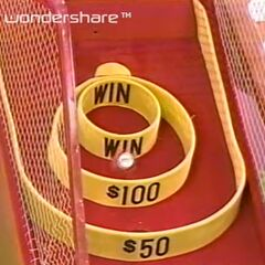 Ball #1 bounced out of the WIN circle and into the $100 circle.