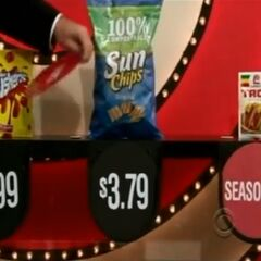 Next, she picks 3 Sun Chips multigrain chips which come to...