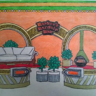 a custom drawing of Barker's Bargain Bar w/ the orange background that a fan drew