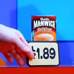 Next, she picks 1 Hunt's Manwich sloppy joe sauce for a total of...