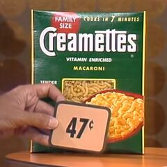 First, she picks 8 Creamettes macaroni which come to...
