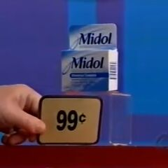 First, she picks 2 Midol reliefs which come to...