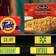 She says the Stouffer's macaroni & Cheese more expensive than the Tide laundry detergent.