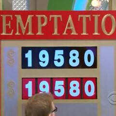 The last number was 0 and he wins the game with the new Red & Silver color scheme. Good thing he changed the 7 to a 9. Otherwise, he would have lost the car. And <i>with</i> that change, we have our first Temptation win of the Drew Carey era.