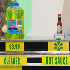 She says the Tabasco hot sauce is less expensive than the Mr. Clean antibacterial cleaner.