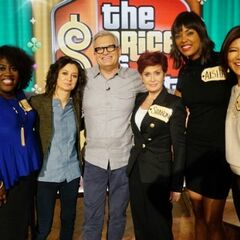 Drew with the hostesses of CBS' <i>The Talk</i> (from L to R: Sheryl Underwood, Sara Gilbert, Sharon Osbourne, Aisha Tyler &amp; Julie Chen) all wearing <i>TPiR</i> nametags