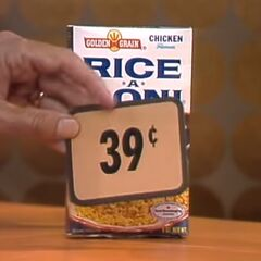 Second, she picks 6 Rice-A-Ronis which come to...