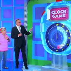 The Clock Game sign is pink for the Breast Cancer Awareness Show on October 1, 2014 (#6823K, aired out of order on October 3).