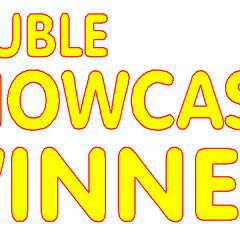 This Double Showcase Winner winning graphic was introduced on later episodes from season 37 and was put into permanent use since 2009. The font style name is