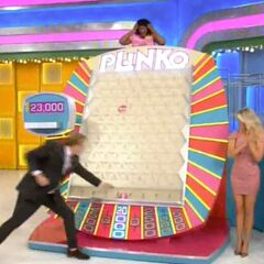 Drew got so excited that he forgot to remove the Plinko chip.