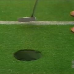But fortunately, the contestant has made her putt.