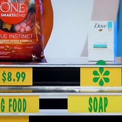 The price of the dog food is $8.99. Is the soap more or less than the dog food. She says it is less. Is she right?