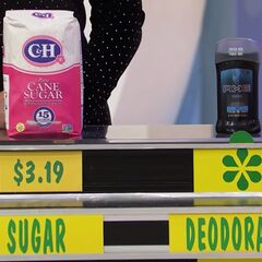 She says the Axe deodarant is more expensive than the C&H cane sugar.