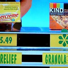 He says the granola bars are less expensive than the Aspercreme.