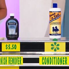 Kevin says the conditioner is more expensive than the tarnish remover.