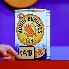Next, he picks 1 Honey Bunches of Oats cereal for a total of...