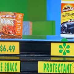 She says the Armor All protectant wipes are more expensive than the sausage snack.