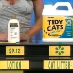 She says the cat litter is less expensive than the lotion.