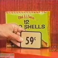 Next, she picks 4 Old El Paso taco shells which come to...
