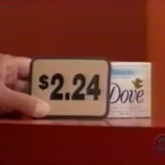First, she picks 4 Dove soaps which come to...