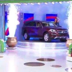 This is the car the contestant is going for.<br />NOTE: By this point, the rainbow is now split into five monitors and dig the fireworks effect from those two pots.
