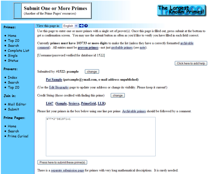 The prime database- submit one or more primes1