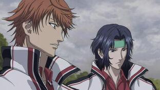 Sengoku and Yukimura watch Atobe get wiped by Irie