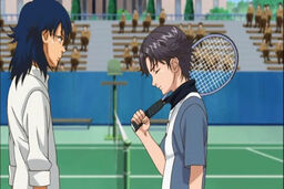 Oshitari Yushi and Atobe Keigo after their match in their freshman year