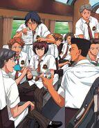 The whole Hyotei team on a train